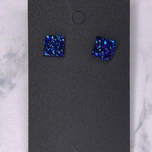 Blue Rock Square Stud Earrings